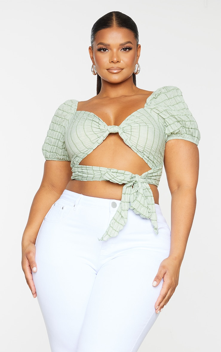 Plus Sage Green Stripe Textured Tie Front Cropped Blouse 3