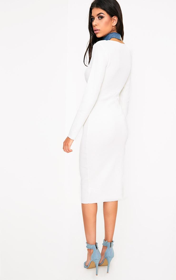 Cateleya White Eyelet Bodycon Midi Dress 2