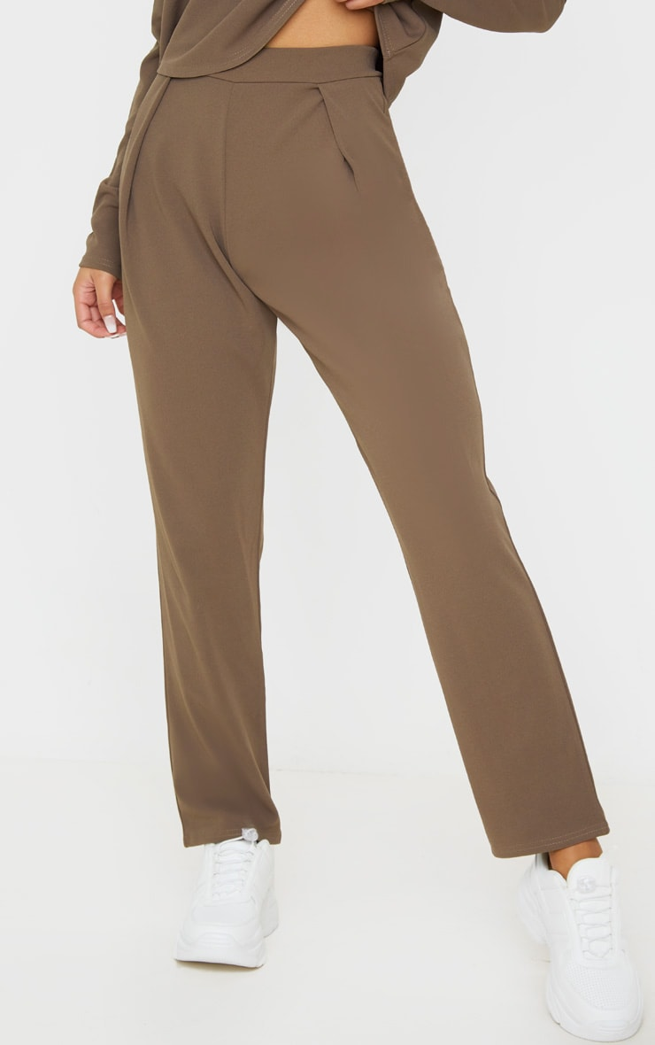 Mocha High Waisted Pleat Detail Tapered Trouser 2