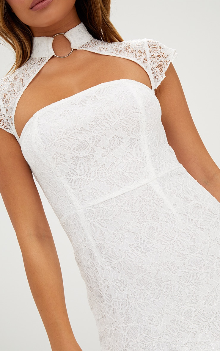 White Lace Ring Detail Frill Hem Bodycon Dress  5