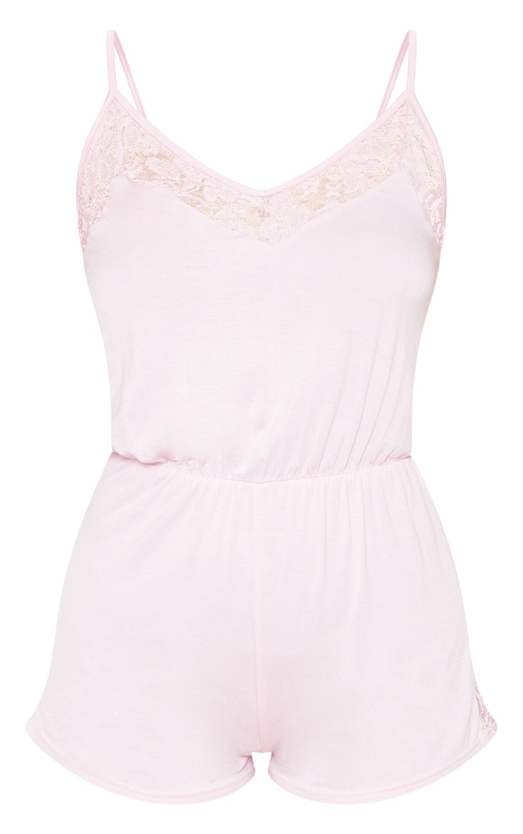 Baby Pink Lace Panel Jersey Teddy 3