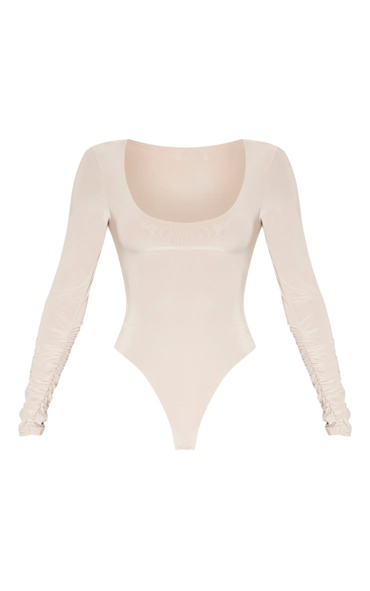 Sand Slinky Ruched Long Sleeve Bodysuit 3