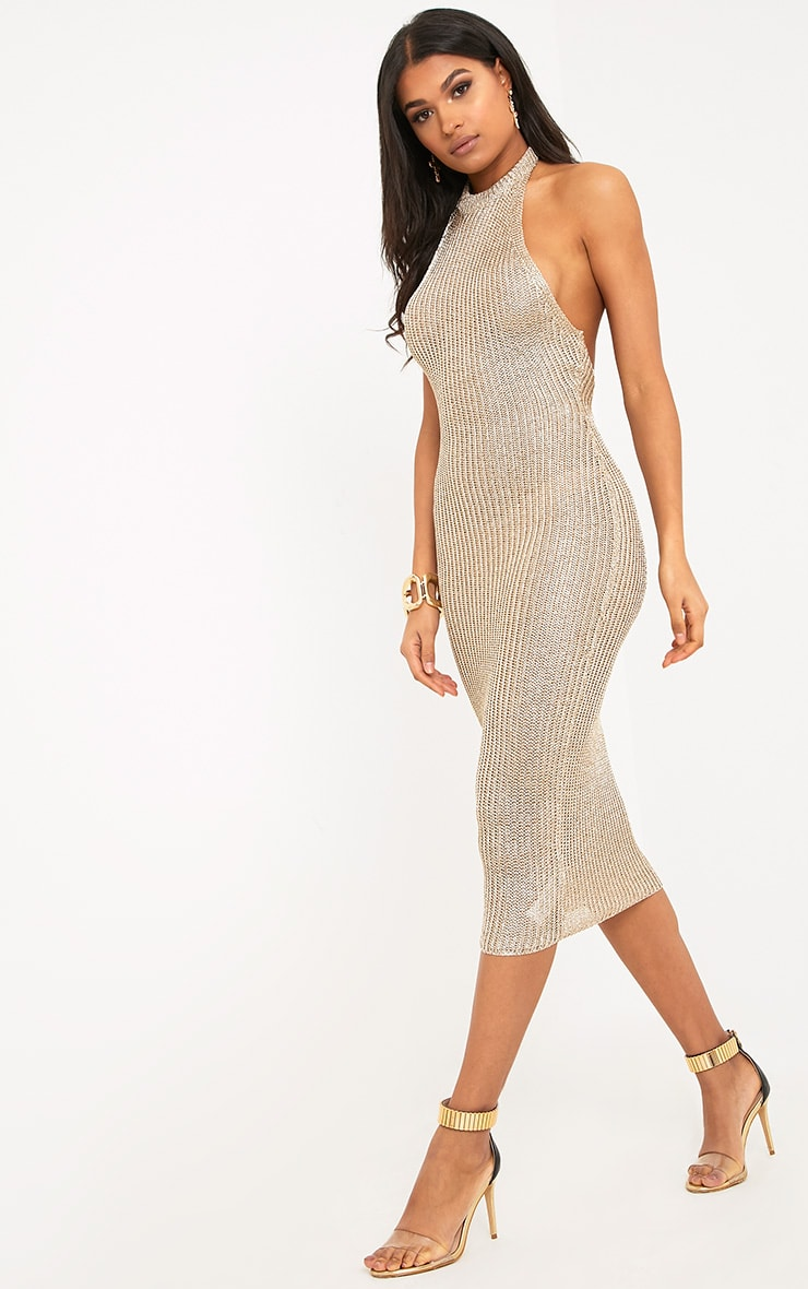 Faizah Gold Metallic Halterneck Knitted Midi Dress 1