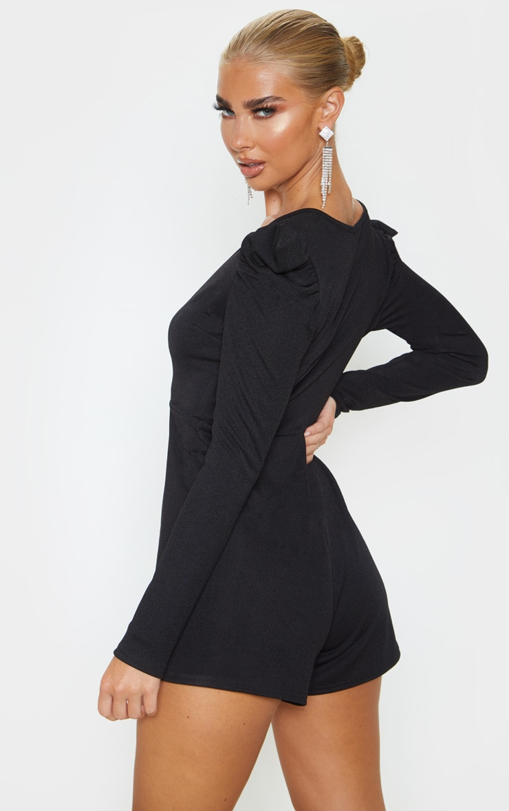 Black Long Puff Sleeve Wrap Romper 2