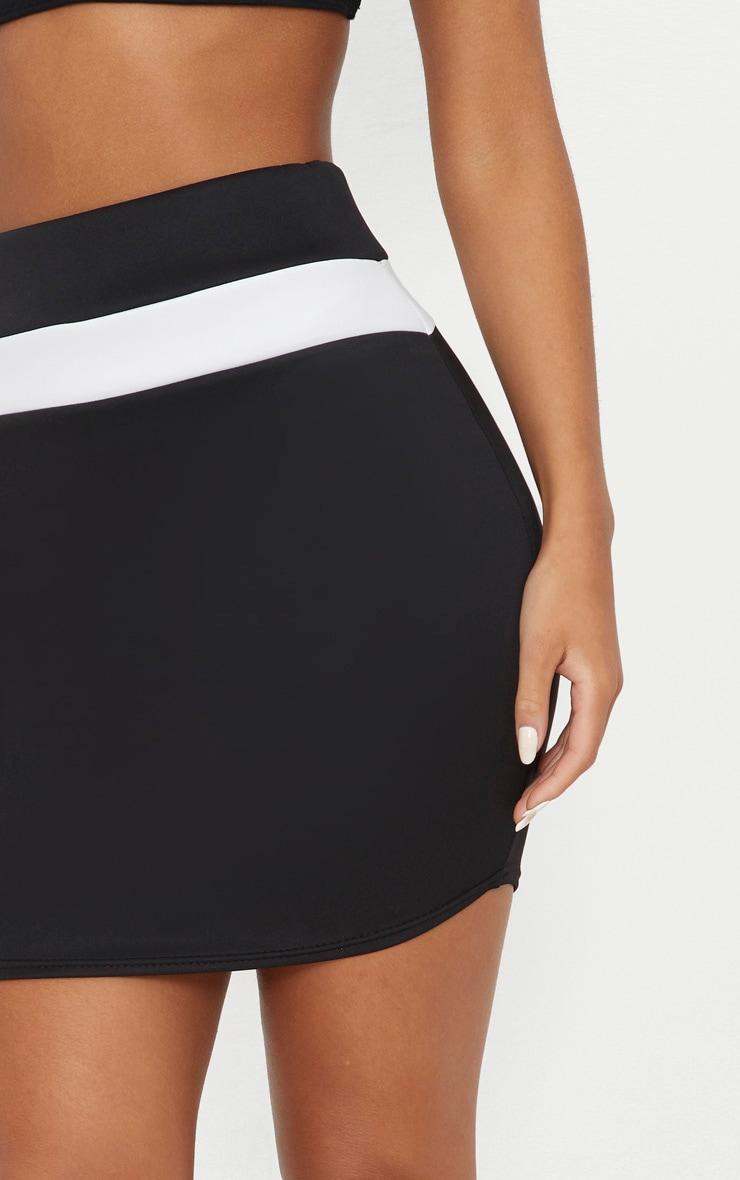 Black Scuba Contrast Panel Curve Hem Mini Skirt  5