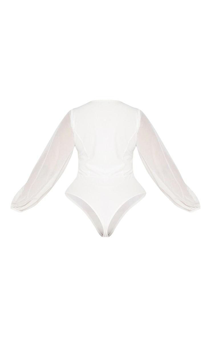 Plus White Eyelet Detail Mesh Sleeve Bodysuit 6