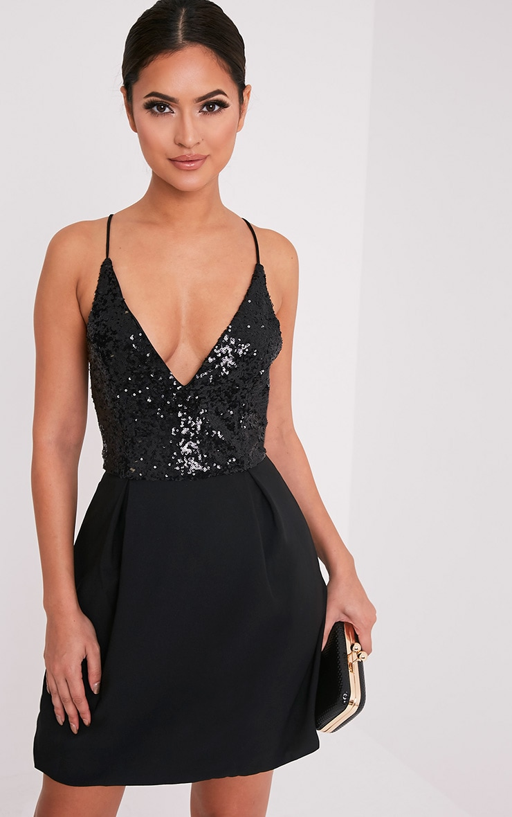 Lidia Black Sequin Crepe Skater Dress 1