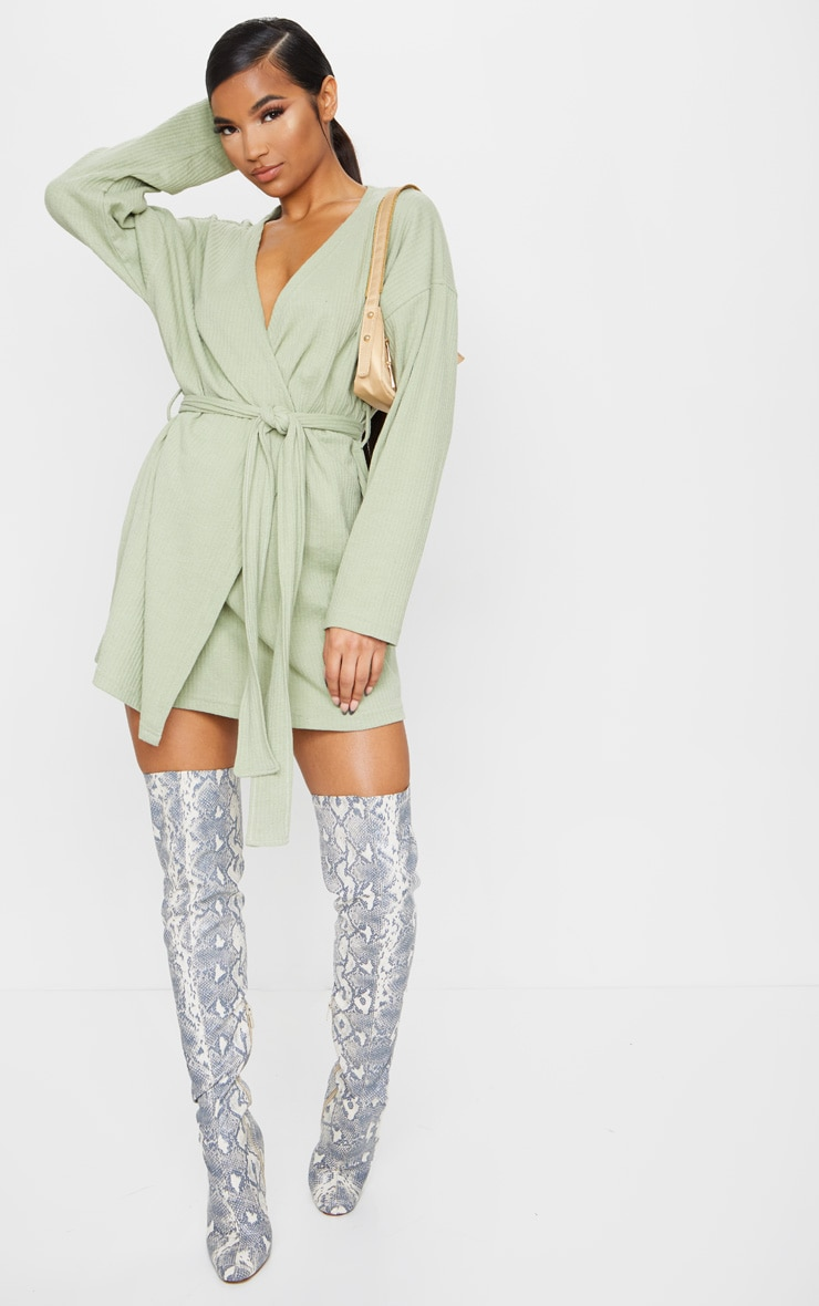 Sage Green Heavy Rib Long Sleeve Wrap Front Shift Dress 3