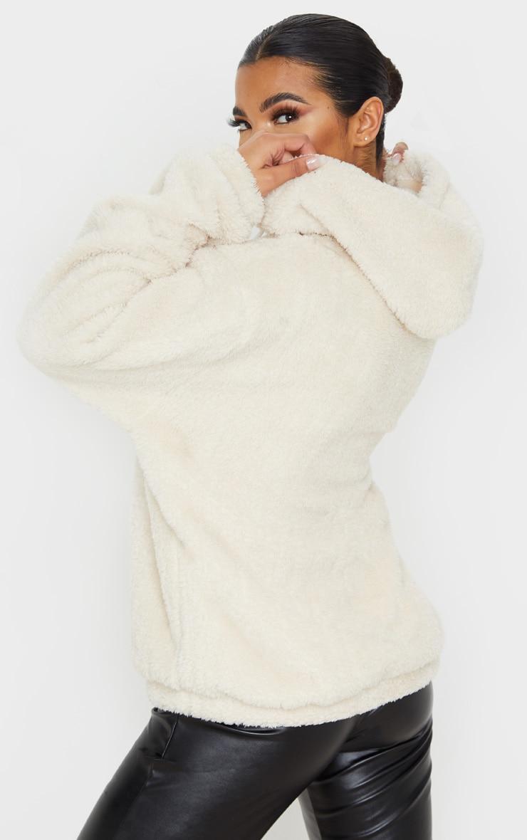 PRETTYLITTLETHING Sand Borg Tape Oversized Zip Sweater 2