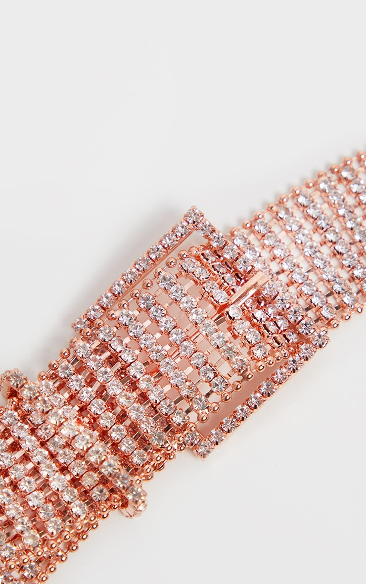 Rose Gold Diamante Chain Link Belt 2