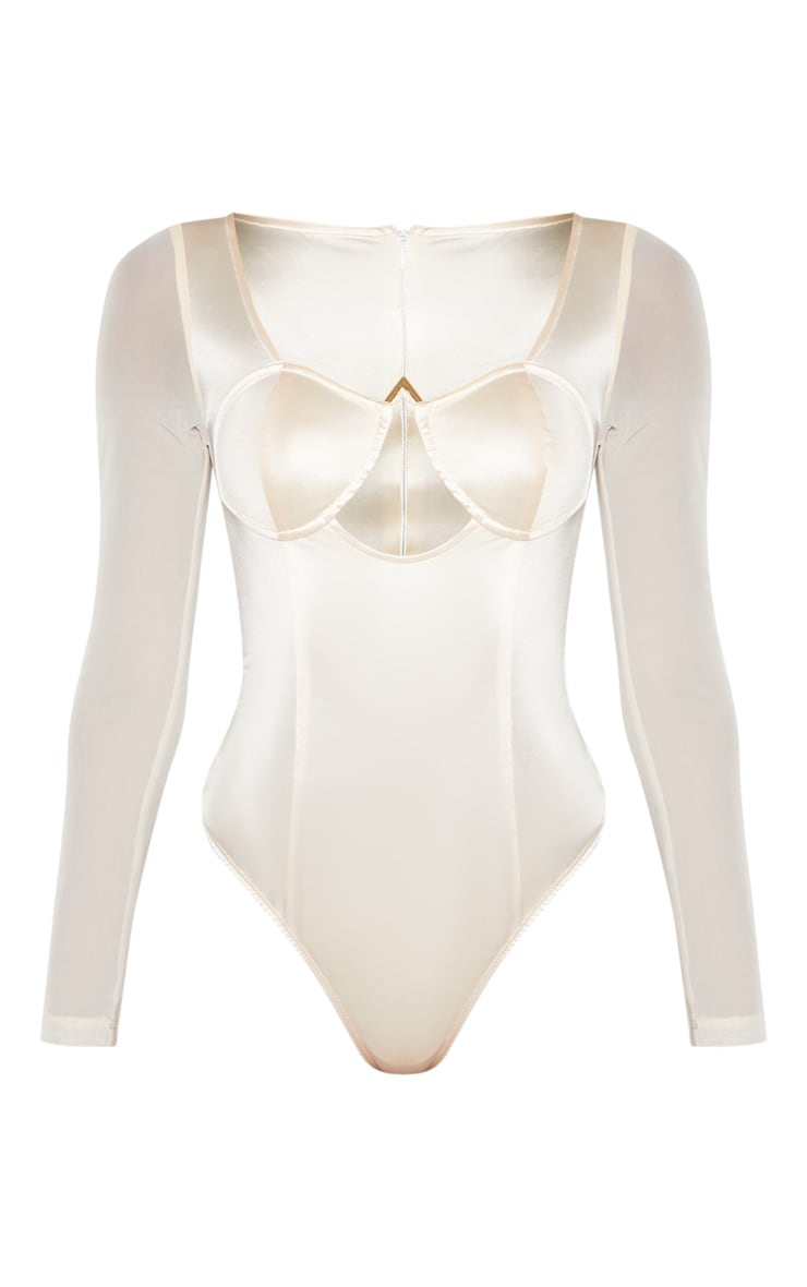 Champagne Satin V Bar Cut Out Detail Bodysuit 3