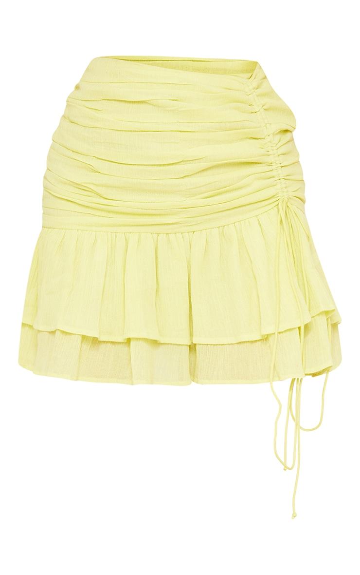 Pale Yellow Textured Ruched Frill Hem Mini Skirt 6