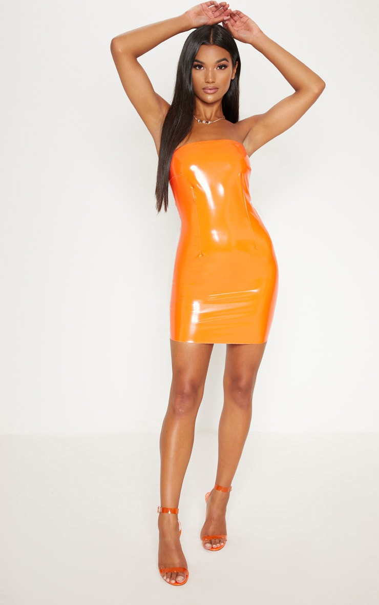 ORANGE VINYL BANDEAU BODYCON DRESS
