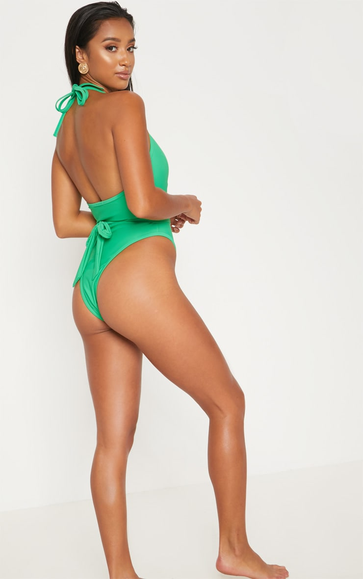 Petite Bright Green Lion Belted Swimsuit 2