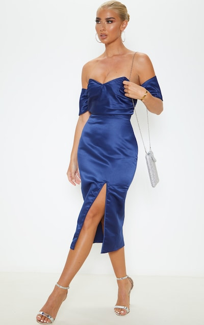 Midnight Blue Pleated Bodice Satin Bardot Midi Dress