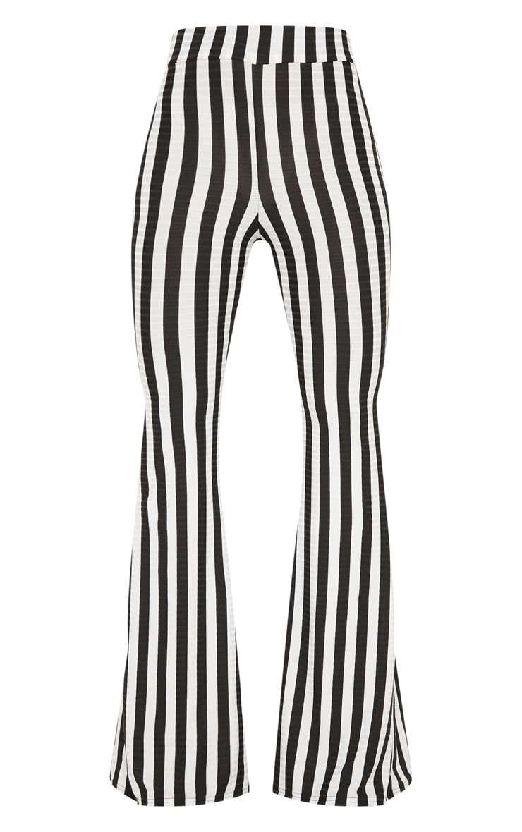 Black Rib Stripe Flare Trouser 3
