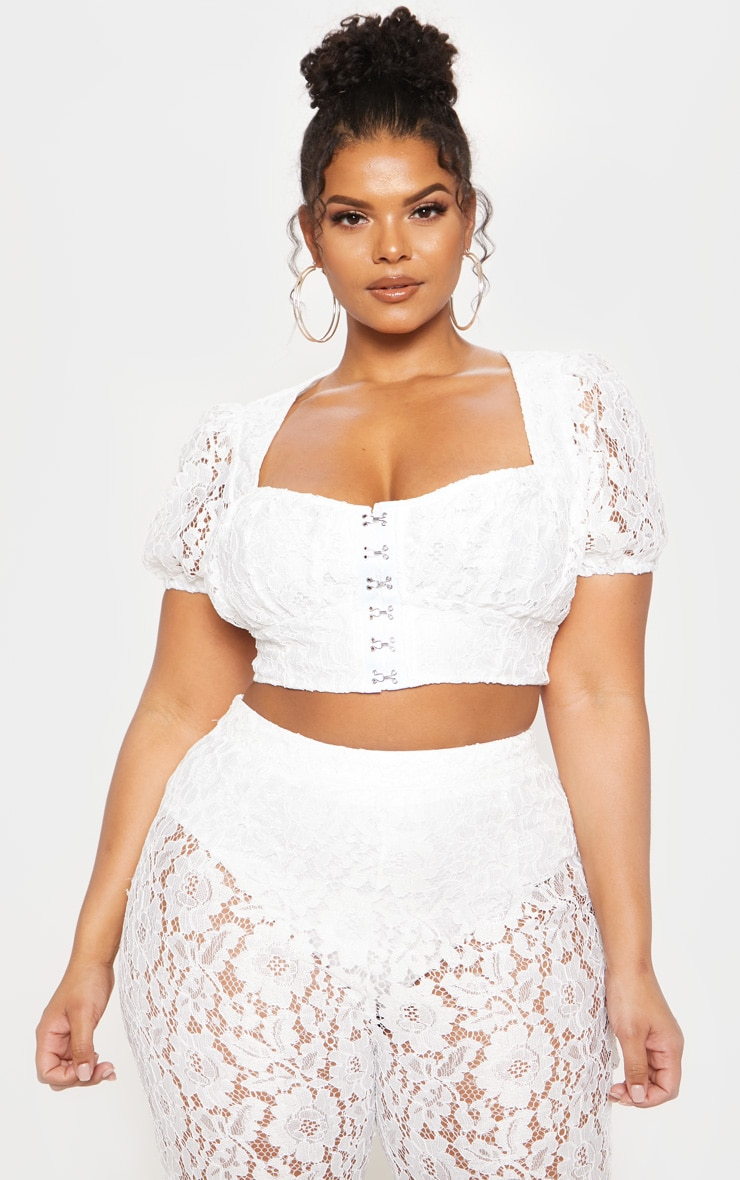 White Lace Puff Sleeve Hook & Eye Crop Top image 2