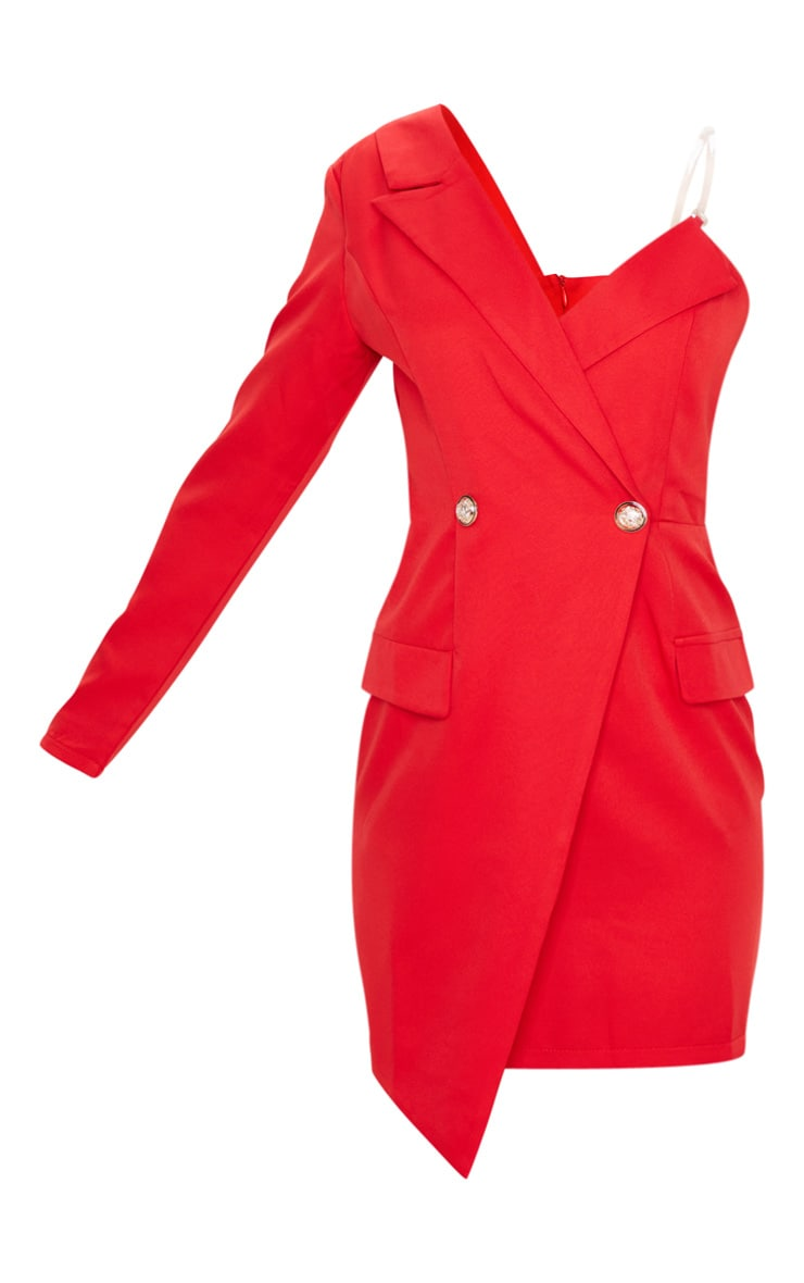 Red Asymmetric One Shoulder Blazer Dress 3