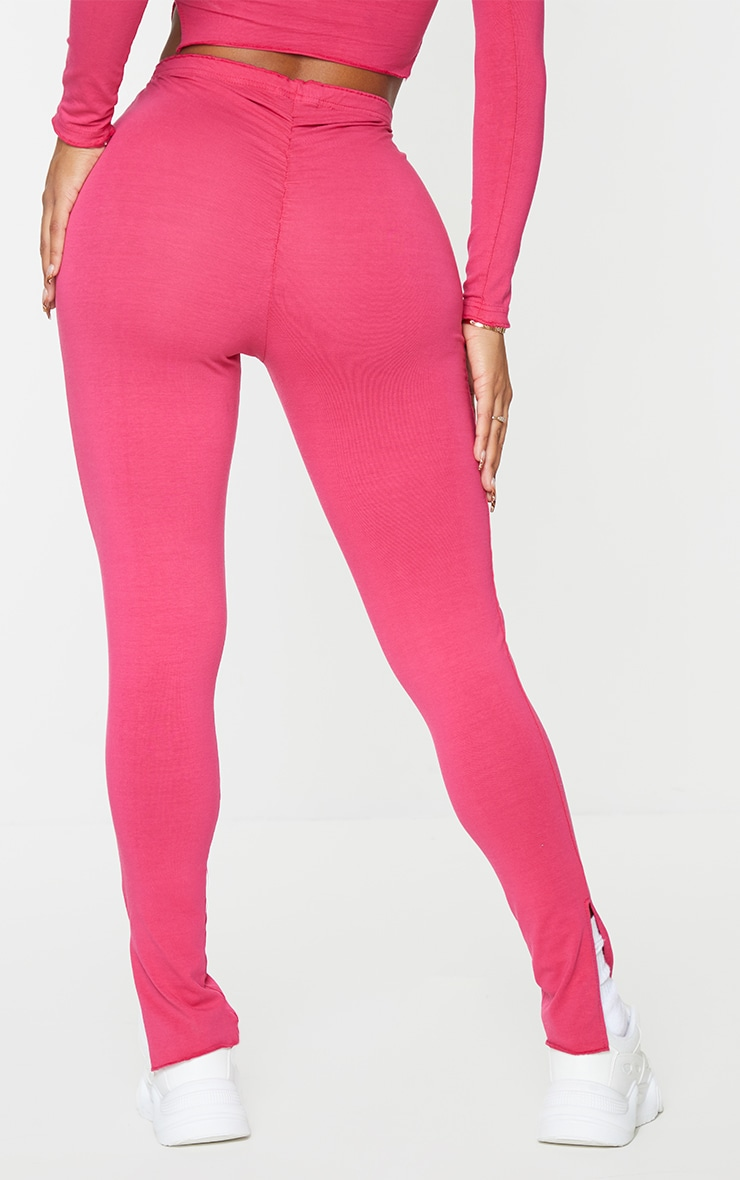 PRETTYLITTLETHING Shape Hot Pink Split Hem Leggings 3