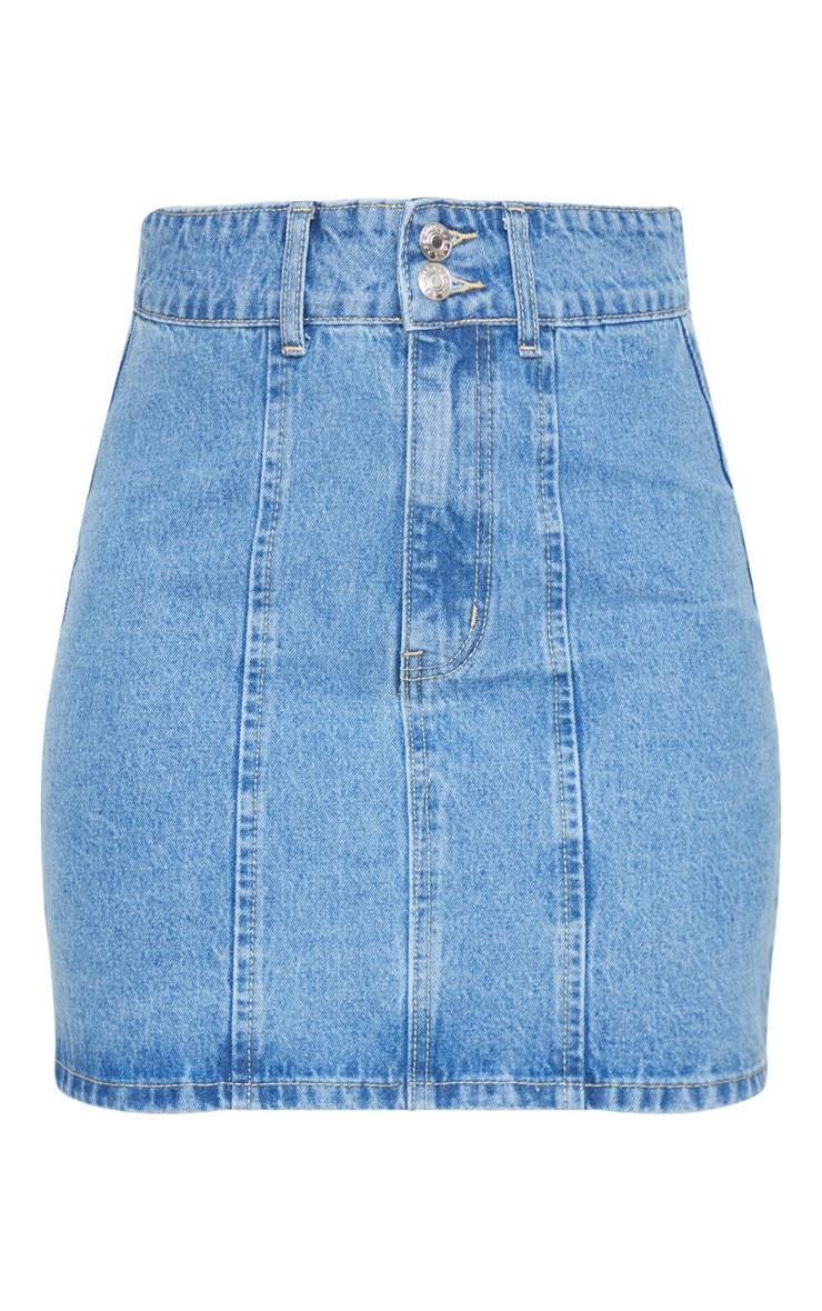Mid Blue Wash 2 Button Seam Detail Denim Skirt 6
