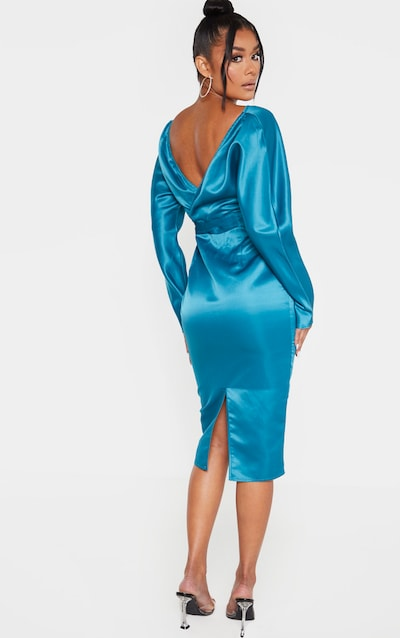 Petrol Blue Bonded Satin Bardot Puff Sleeve Midi Dress