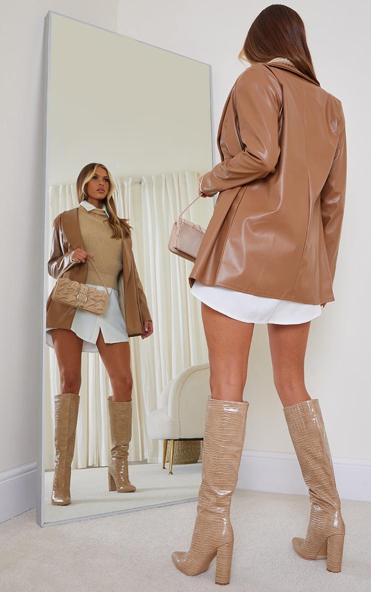Tan Drop Collar Faux Leather Blazer 3