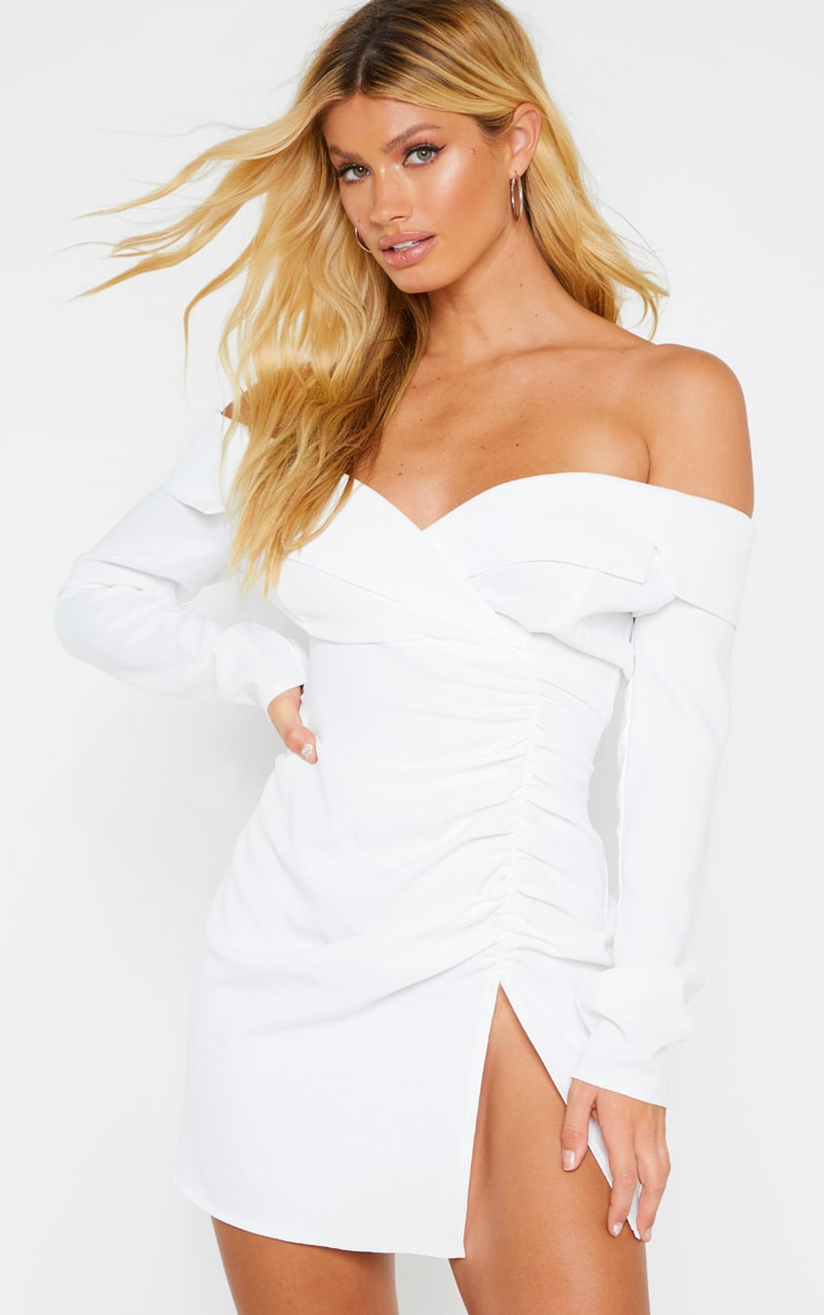 White Bardot Ruched Detail Blazer Style Dress 1