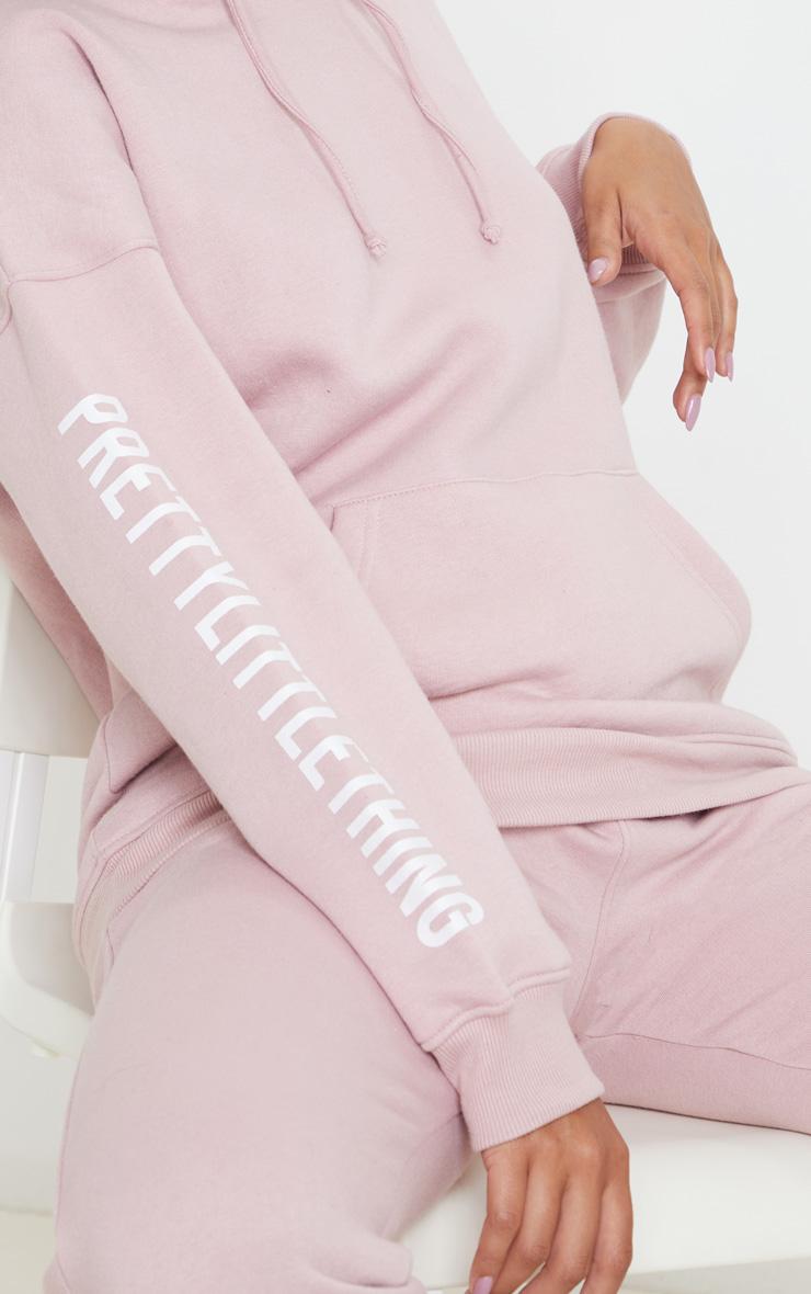 PRETTYLITTLETHING Pale Pink Slogan Hoodie 5