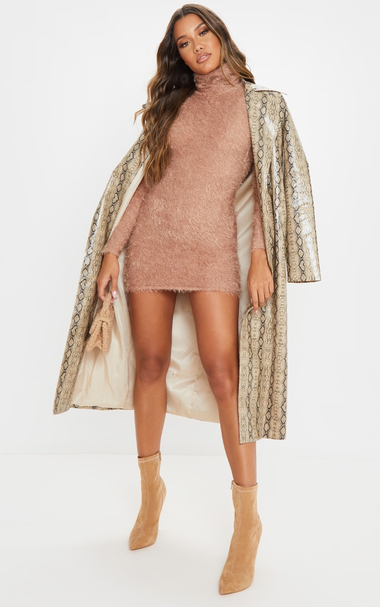 Camel Eyelash Cowl Neck Bodycon Sweater Dress 6