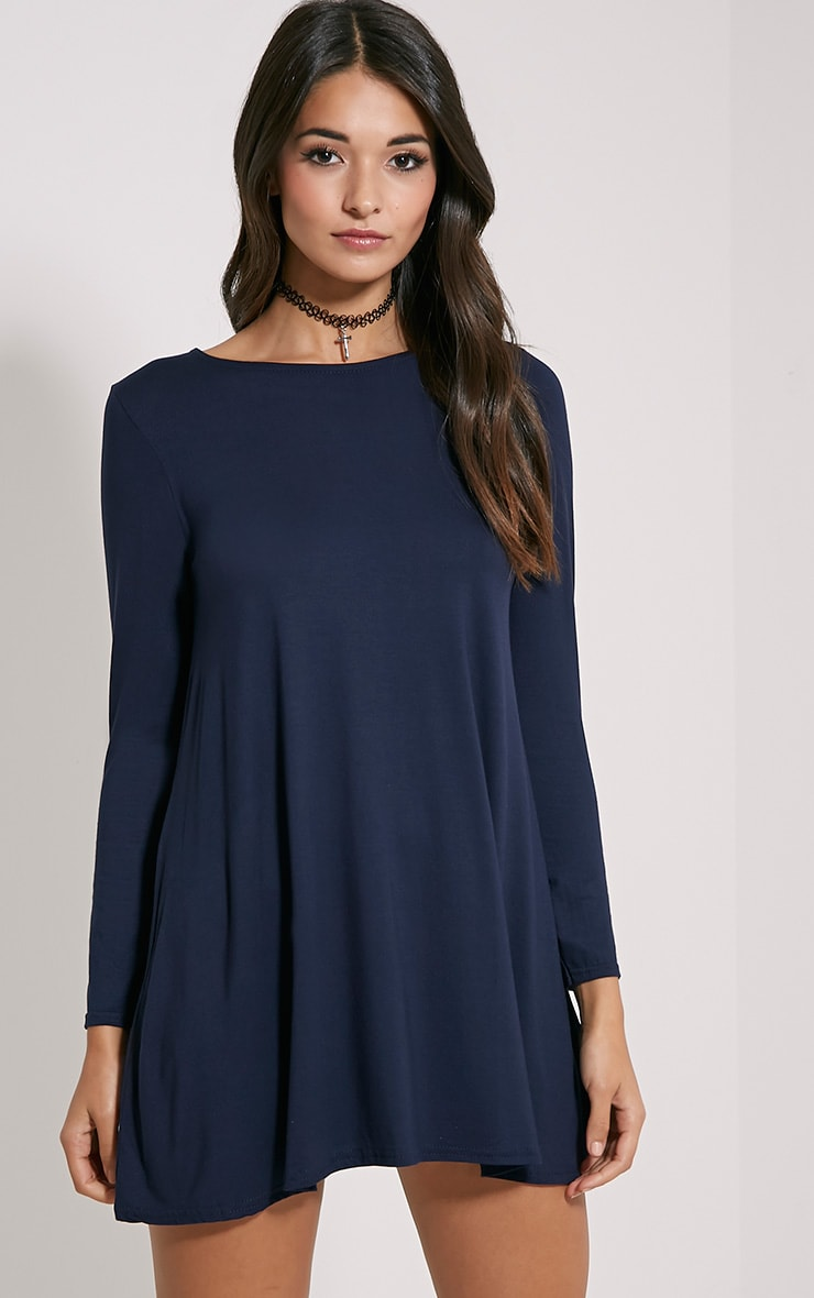 Basic Navy Long Sleeve Swing Dress 1