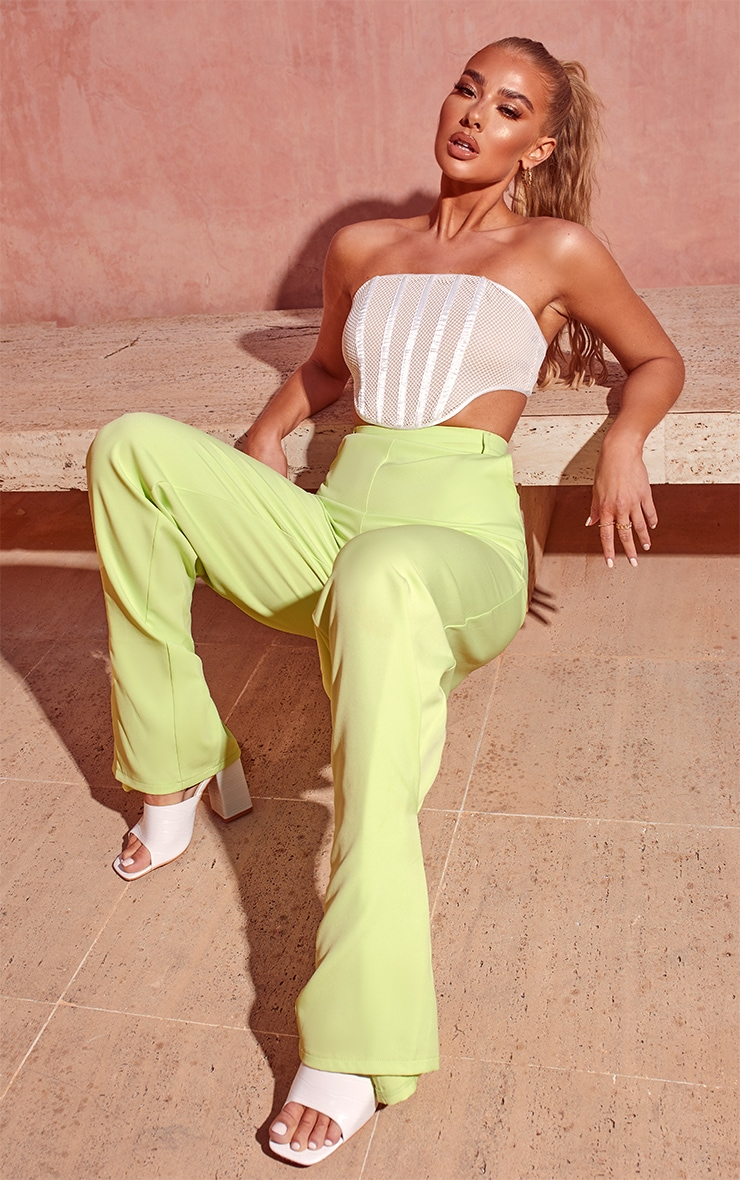 Lime Pleated Detail Tapered Hem Trousers 4