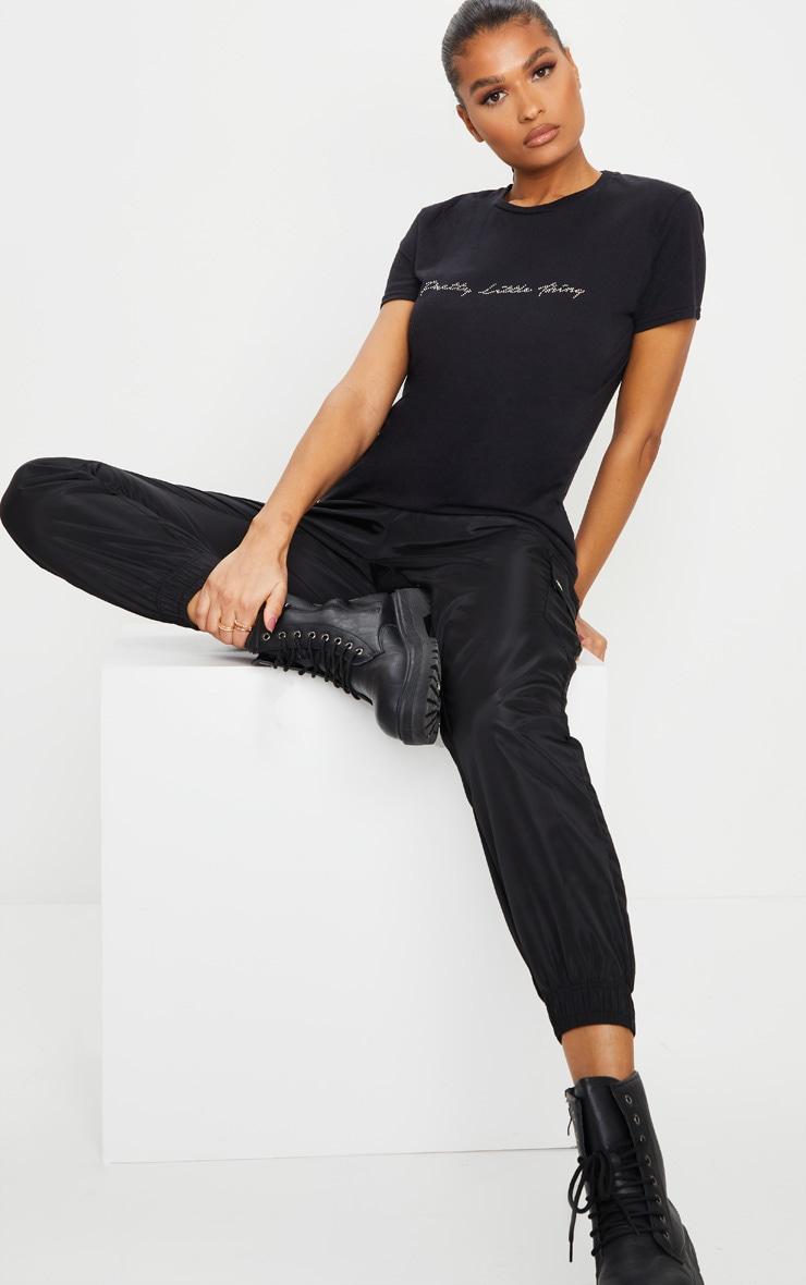 PRETTYLITTLETHING Black Diamante T Shirt 3