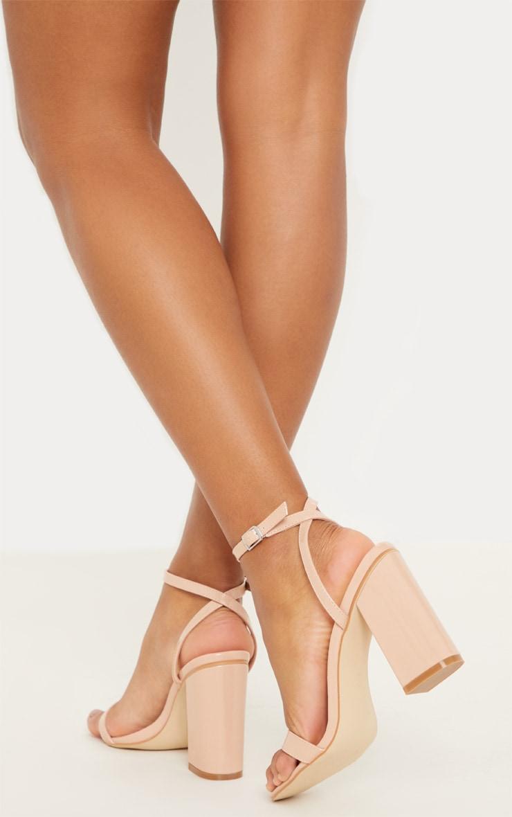 Nude Ankle Strap Block Heel