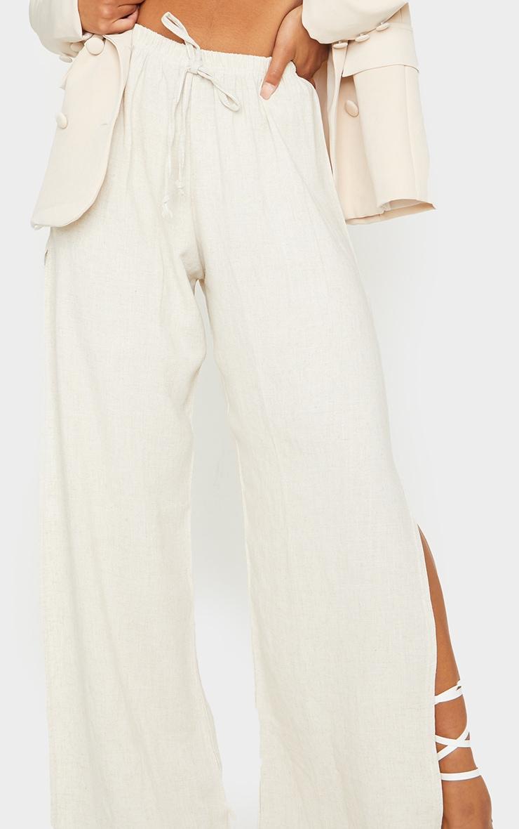 Pantalon évasé effet lin nude à détail fendu 4