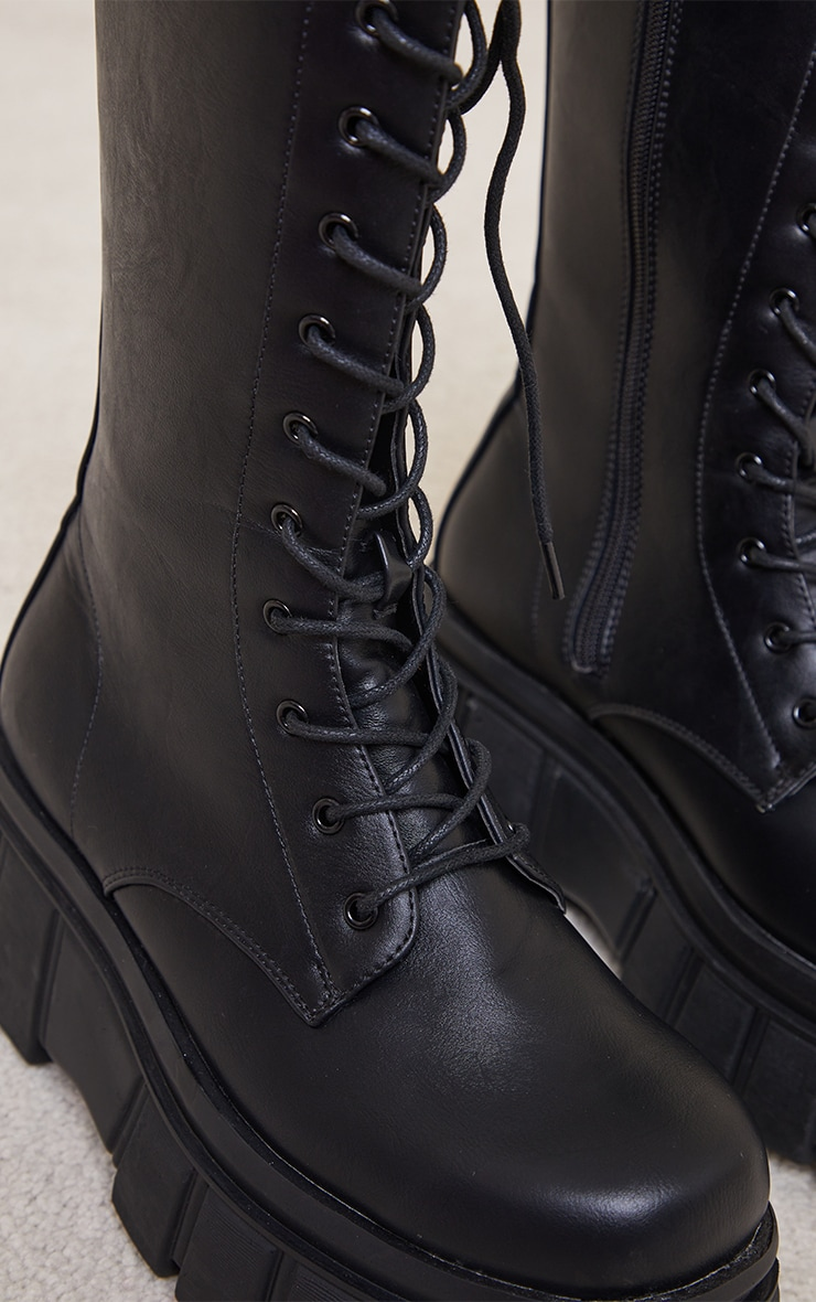 Black Extreme Flatform Sole Calf High Biker Boots 4