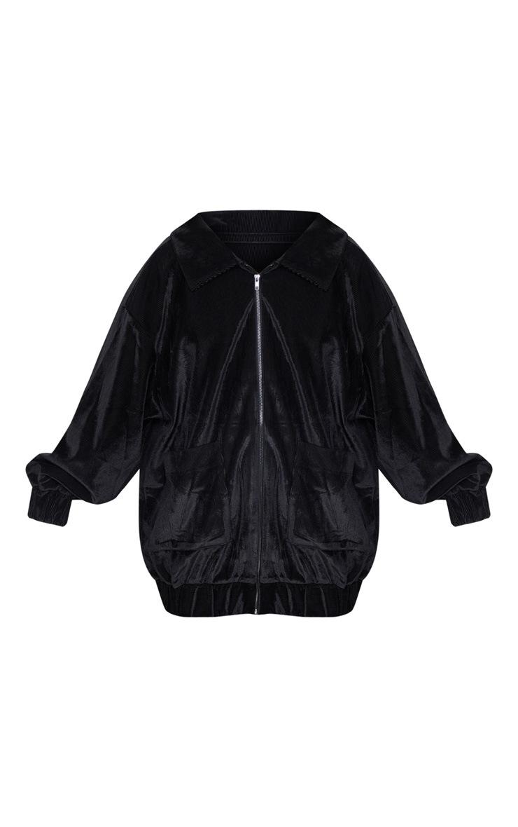 Black Cord Oversized Pocket Front Coat 3