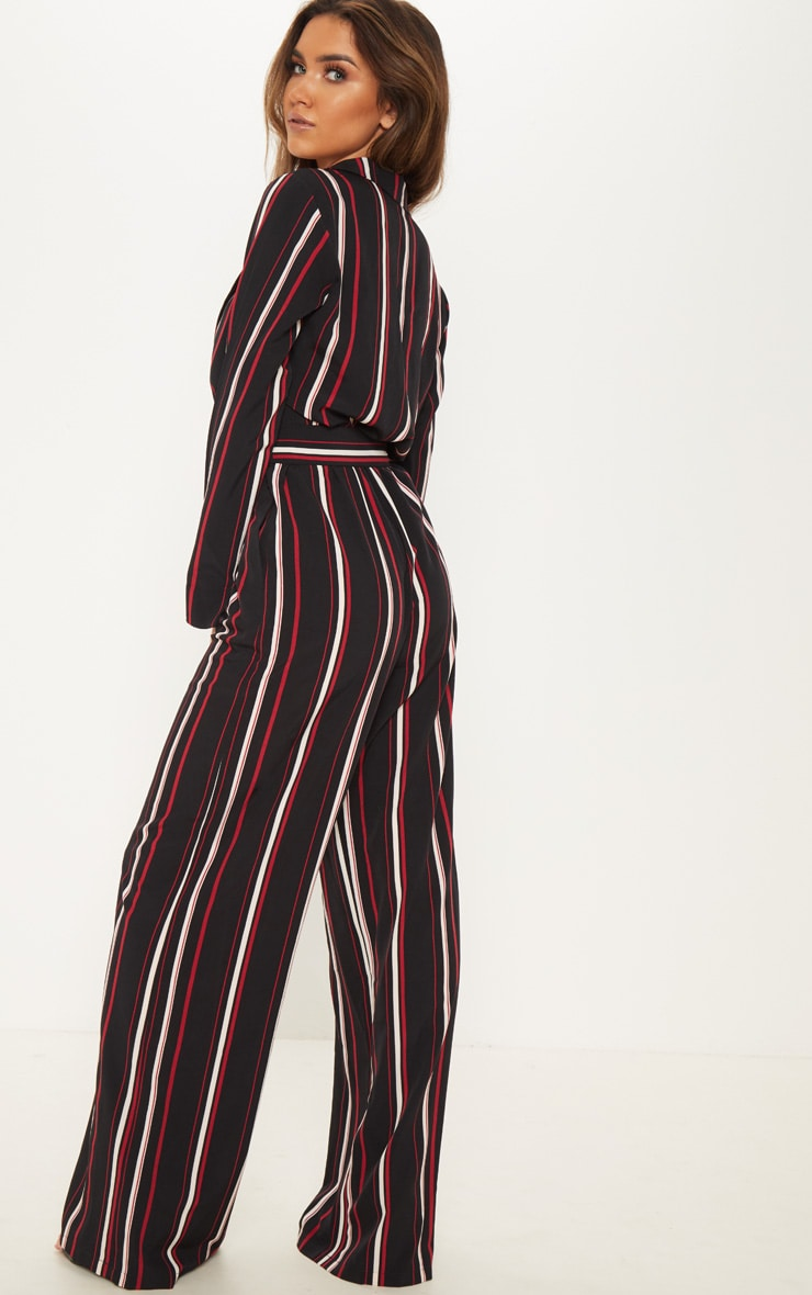 Multi Striped Belt Detail Wide Leg Jumpsuit 2