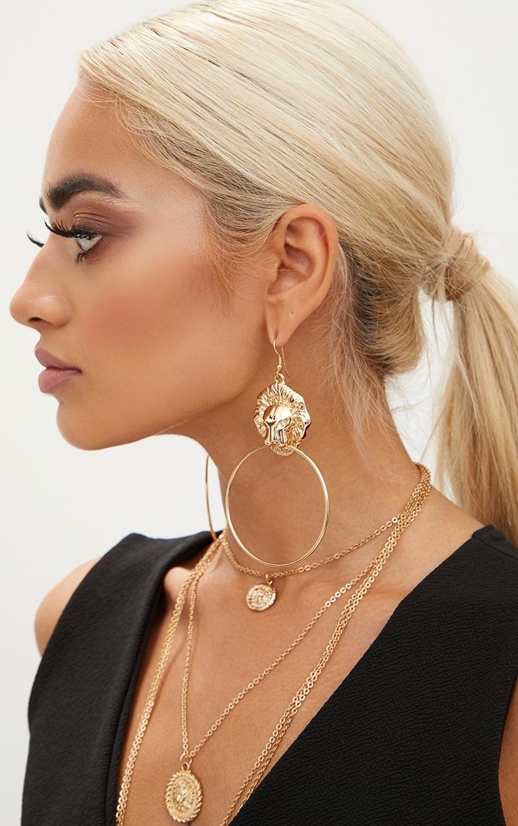 Gold Lion Drop Oversized Hoop Earrings 2
