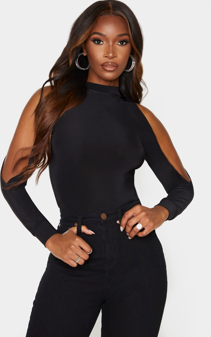 Black Slinky Split Long Sleeve Bodysuit 1