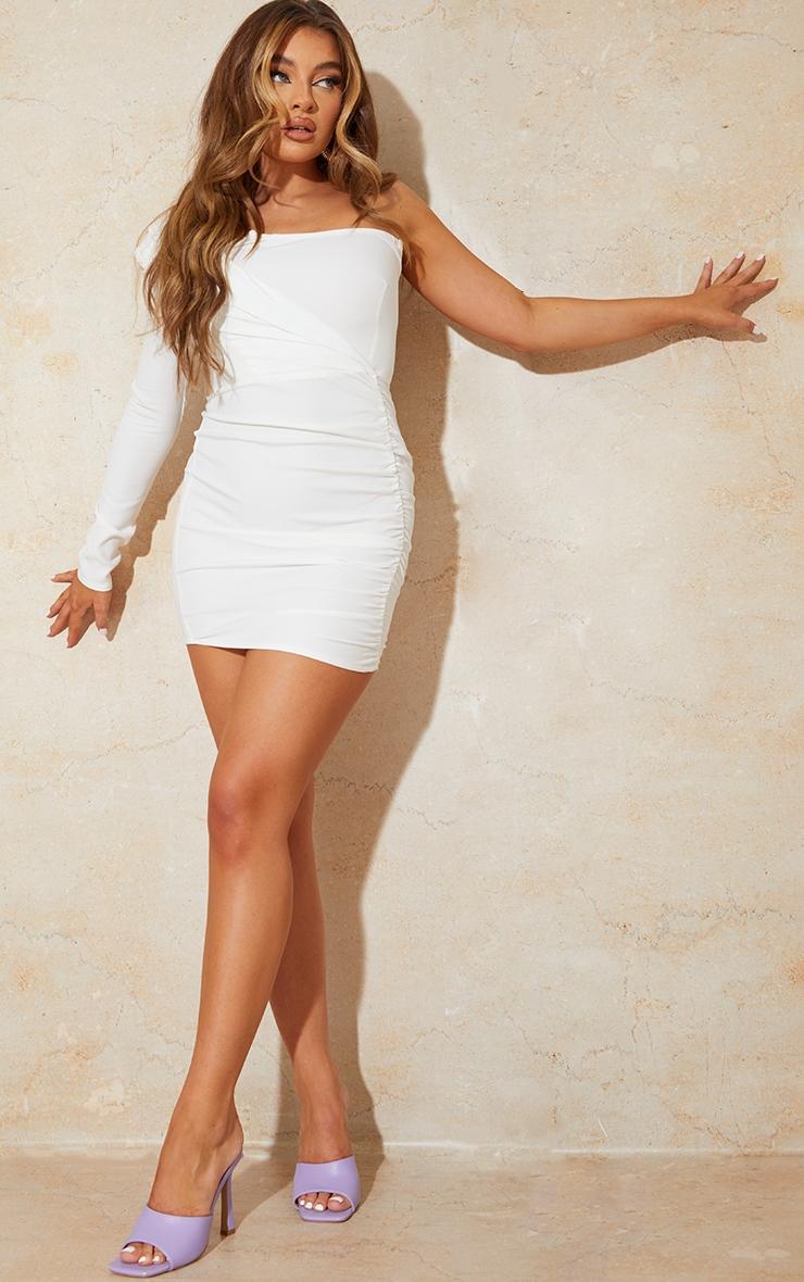 White One Shoulder Gathered Skirt Bodycon Dress 3