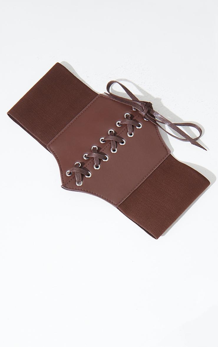 Chocolate PU Lace Up Corset Belt 2