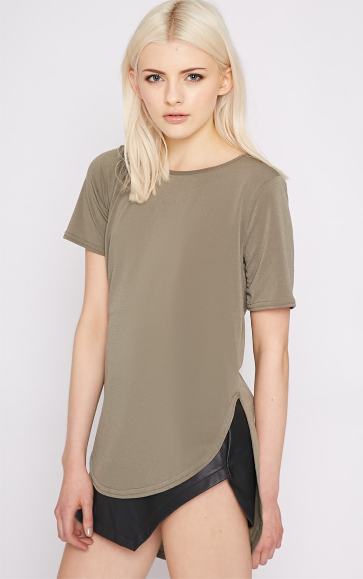 Dora Khaki Dipped Hem Top 3