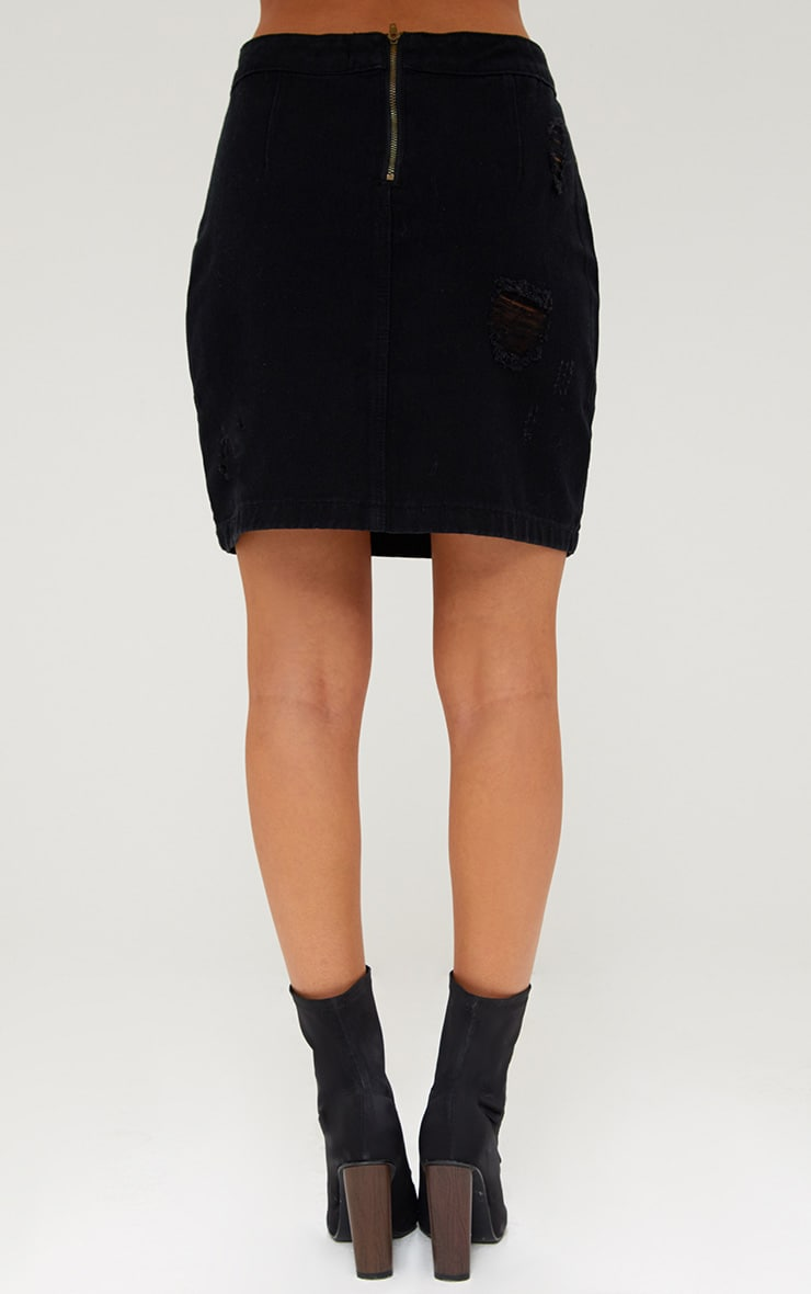 Black Open Thigh Rip Denim  Mini Skirt 4