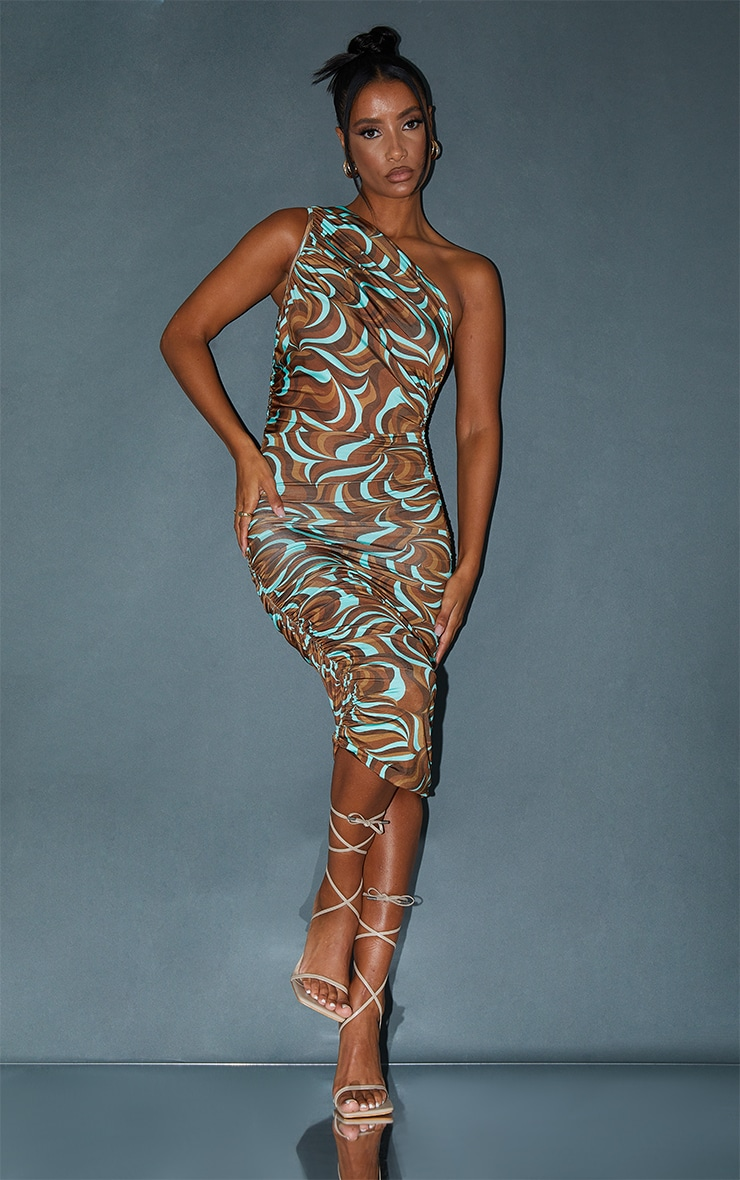 Multi Abstract Print Slinky One Shoulder Ruched Midi Dress 1