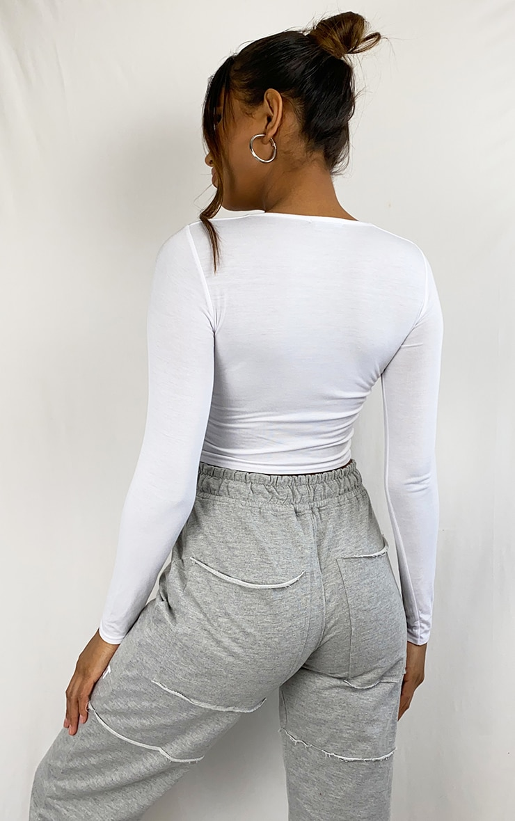 White Button Front Long Sleeve Crop Top 2