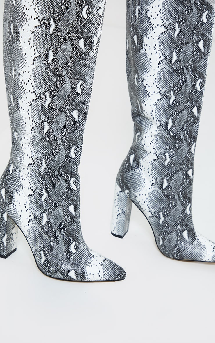 Grey Wide Fit Snake PU Knee High Point Block Heel Boots 2