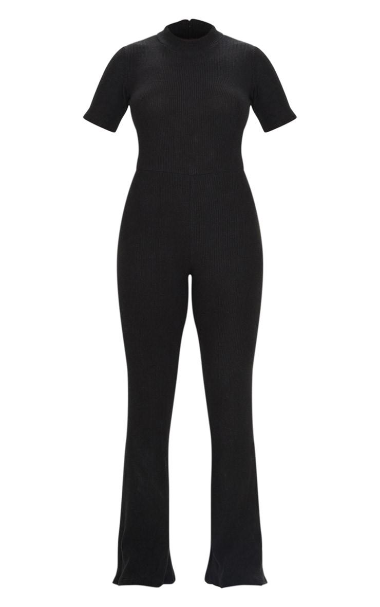 Black Brushed Rib High Neck Flared Jumpsuit 5