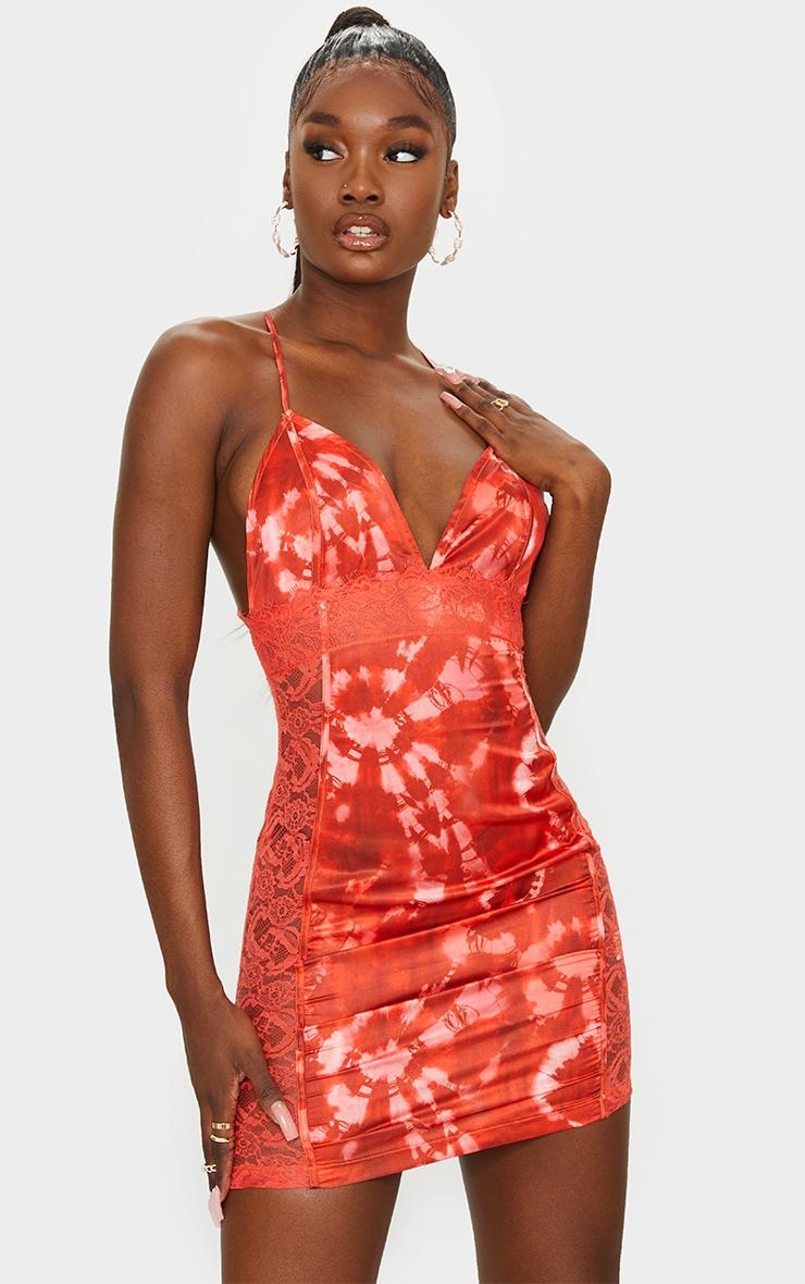 Tall Orange Tie Dye Lace Detail Satin Slip Dress 1