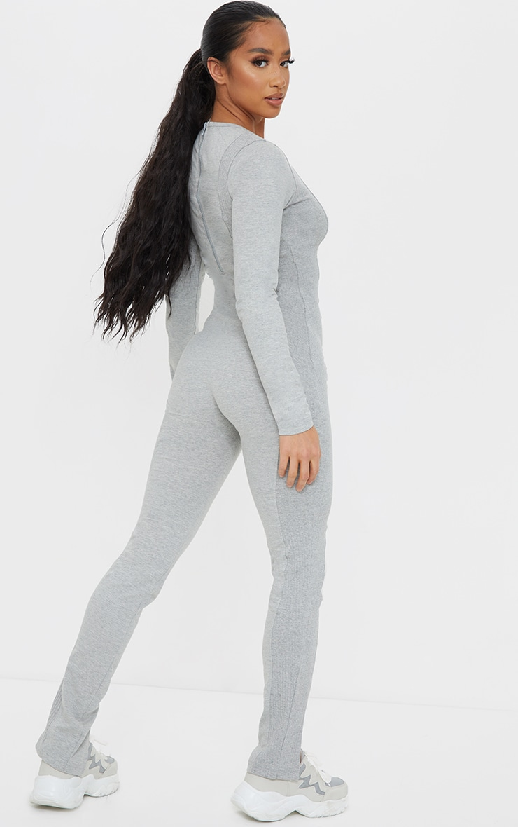 Petite Grey Ribbed Detail Split Hem Jumpsuit 2