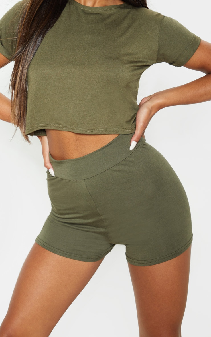 Basic Khaki High Waisted Shorts 6
